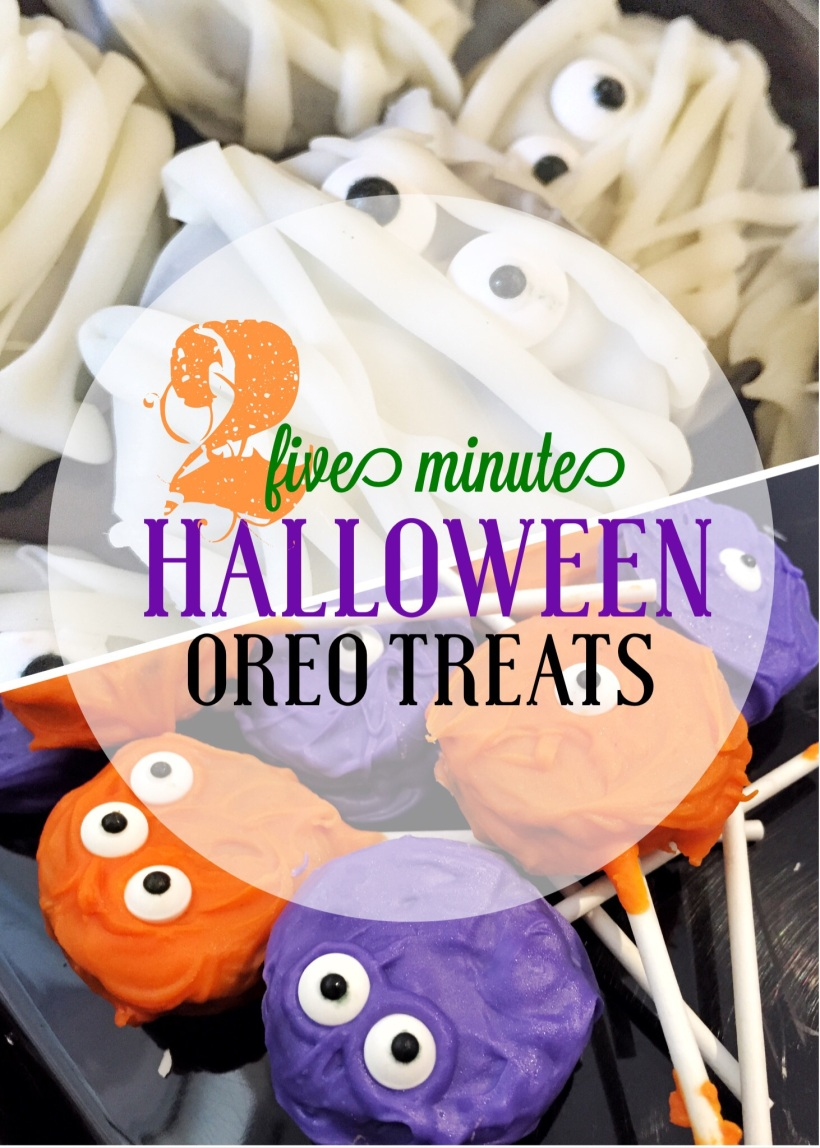 Five Minute Halloween Oreo Treats -- Mummy Oreos and Monster Oreo Pops -- inspirealoha.net