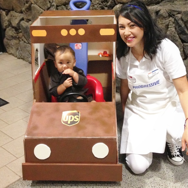 DIY Halloween Costumes -- UPS Baby and Flo the Insurance Girl -- Inspirealoha.net